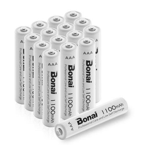 BONAI 16 Pack 1100mAh AAA Rechargeable Batteries High-Capacity 1.2V Ni-MH Rechargeable Battery, Pre-Charged