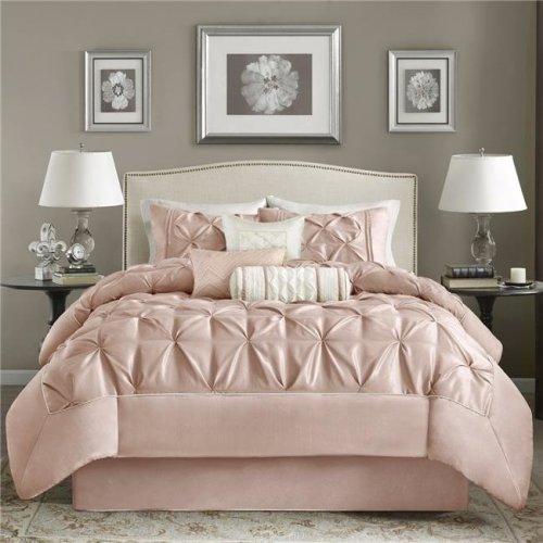 Madison Park MP10-5116 Vivian Comforter Set - Cal King, 7 Piece in Blush
