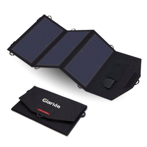 GIARIDE 18V 21W Foldable Sunpower Solar Charger 5V USB/18V DC Output, Portable Pack for Laptop, Notebook, Tablet, iPad, iPhone, Samsung,...