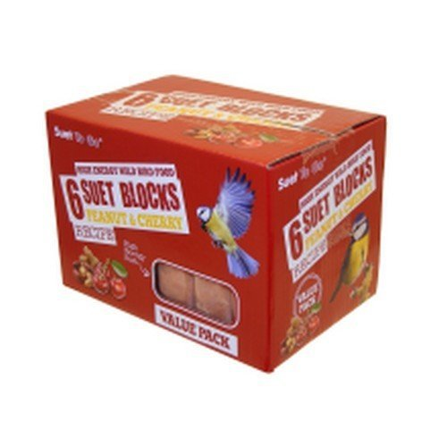 Unipet Suet To Go Peanut & Cherry Block Value 6 Pack Of Bird Feed