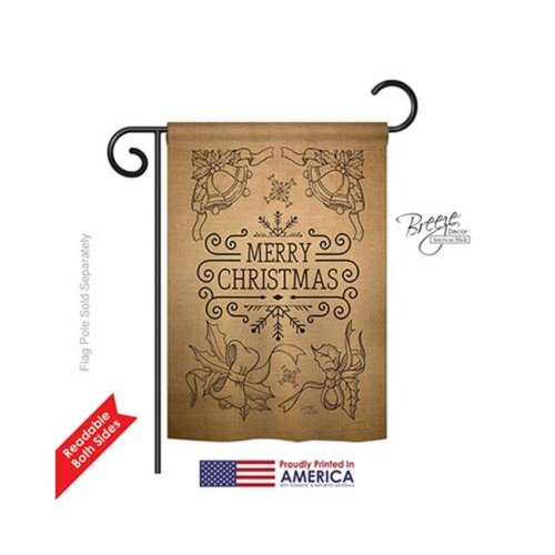 Breeze Decor 64113 Christmas Merry Christmas Bells 2-Sided Impression Garden Flag - 13 x 18.5 in.