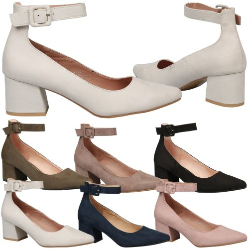 3548f8bcbbfd Annalise Womens Low Mid Block Heel Ankle Strap Court Shoes Ladies Pumps Size  New on OnBuy