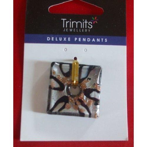 Trimits Glass Pendant - Silver / Black Square