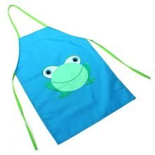 Children's Waterproof Apron Cartoon Frog Printed Painting Cooking Blue by Sanwood