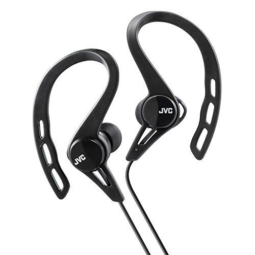 JVC Sports Splash and Sweat Proof In-Ear Headphones with Over-Ear Clip - Black
