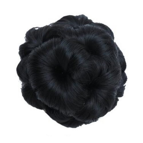 Fake Hair Bun with Hair Clip, Easy to Wear [Natural Black]