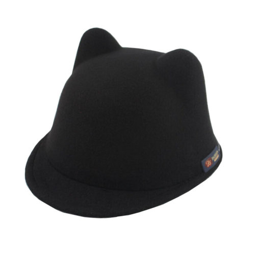 Fashion Sun Hat Winter Cat Ear Animal Equestrian Ears Fedora Cap With Devil Horns Ear Autumn Black