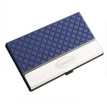 Stainless Steel PU Wallet Business Name Credit ID Card Holder Case,Blue