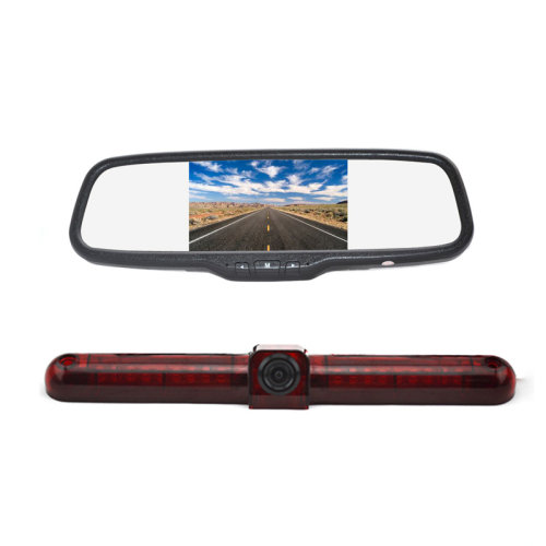 Vardsafe Flat Surface Mount Brake Light Reverse Backup Camera + 5 Inch Clip-on Mirror Monitor for RV / Cargo Van / Bus