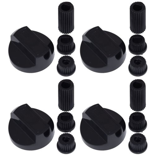 4 X Hotpoint Universal Cooker/Oven/Grill Control Knob And Adaptors Black