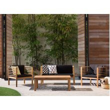 Garden Furniture - 4 Seater Sofa Set with Cushions - Table and Chairs - Brown - PACIFIC