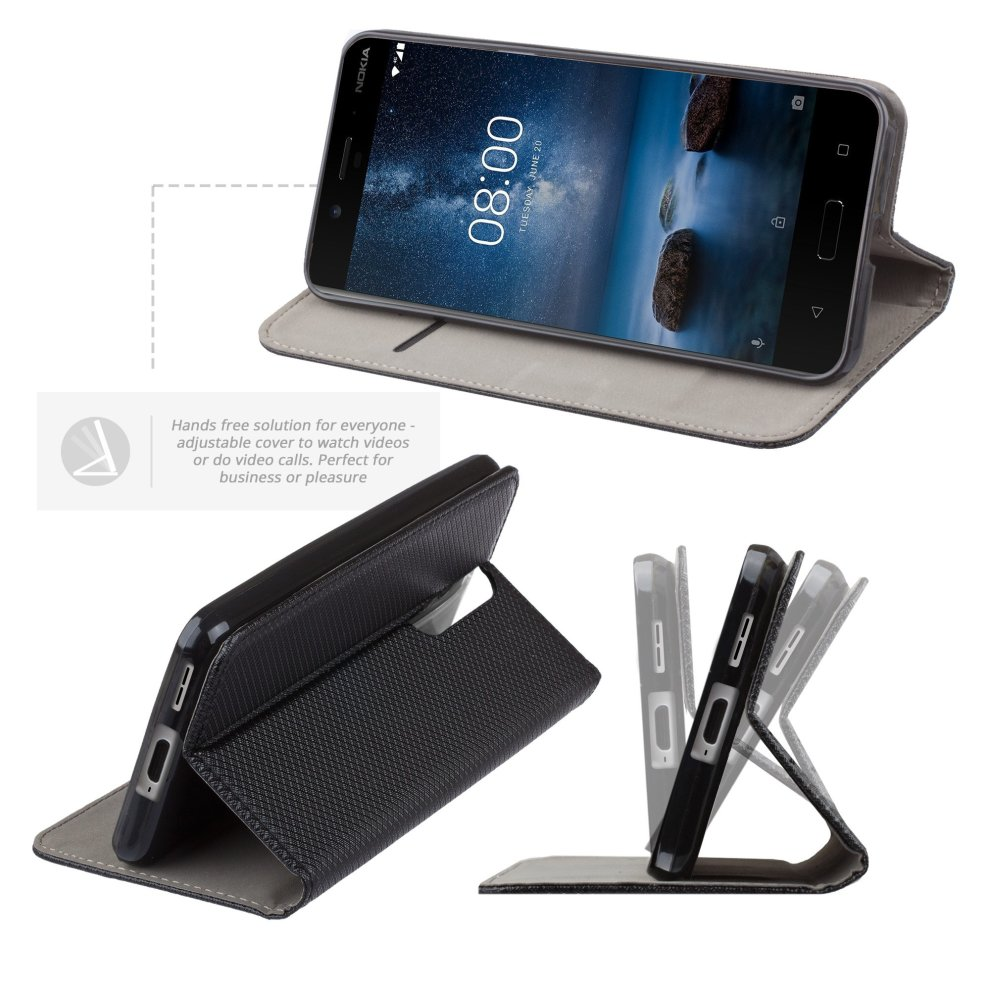 36a967fd4 ... Moozy Nokia 6 phone case Flip cover Black Smart Magnetic Flip case with folding  stand and ...