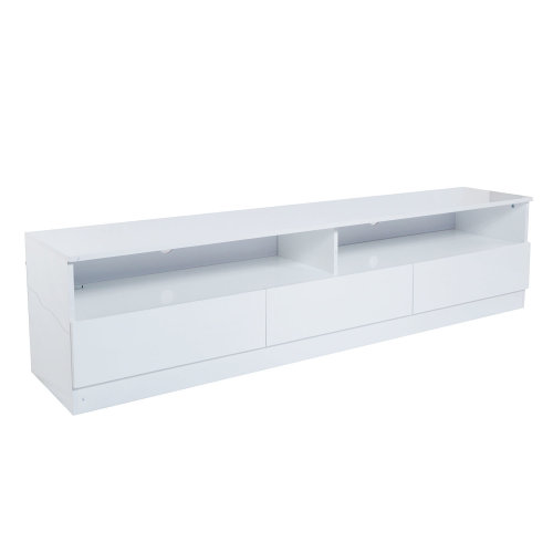Homcom High Gloss TV Stand Unit Cabinet Console 3 Drawers Black w/ LED Shelves (White)