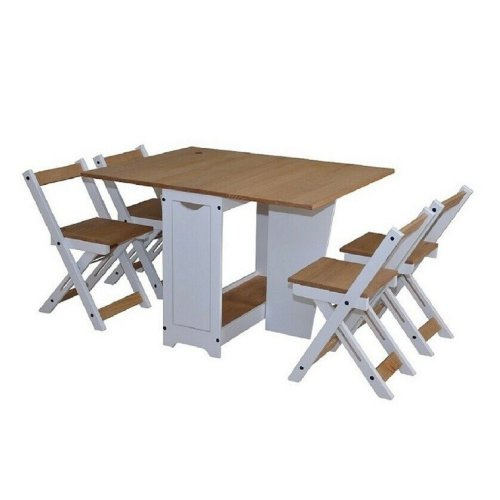Ellingham Butterfly Dining Set in White/Pine Distressed Waxed