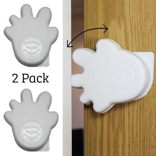 Happy Hands Anti Slam Child Door Safety Finger Trap Stoppers - White (2 Pack)