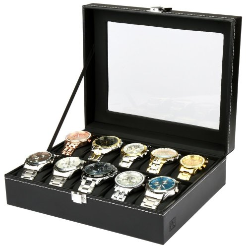 Glass Lid 10 Watch Jewellery Display Storage Box Case Tray Faux Leather Black