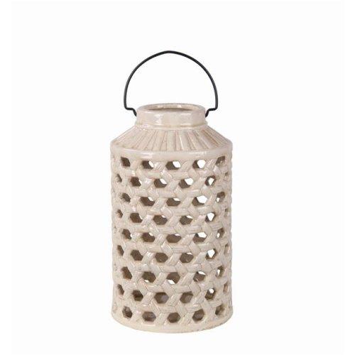 Privilege 66774 7.5 x 7.5 x 13.5 in. Pierced Ceramic Lantern, Off-White - Large