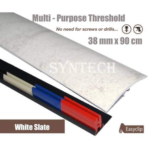 White Slate Multi Purpose Threshold Strip 38x90cm Adhesive Clip System
