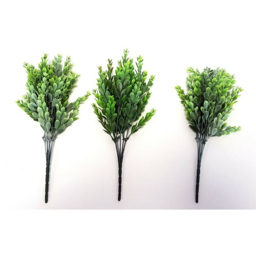 Set of 3 Artificial Mini Leaf Bush - 37 cm - Two Tone Green - Foliage Bushes