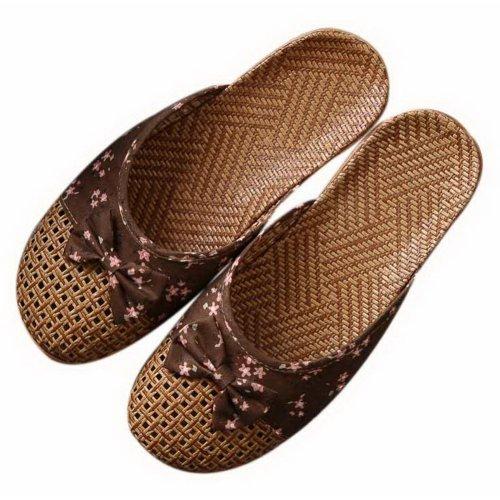 Flipped Linen Slippers Indoor/Outdoor Non-slip Grass Weavon Slippers, Dark Khaki