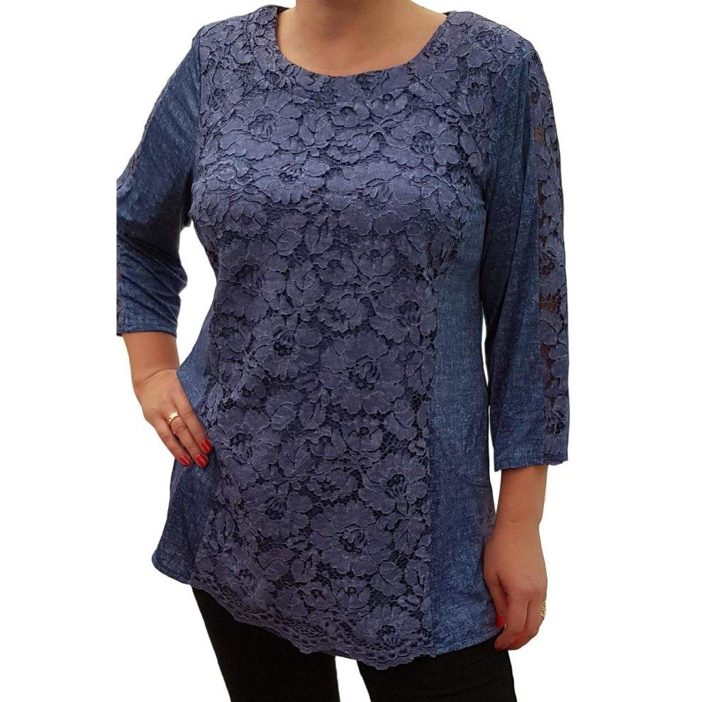 3a7e10bb09919 Plus Size Top Blouse Stretchy Jeans Print Lagenlook Lace Tunic [l462_blue]