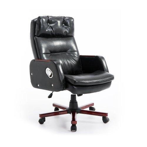 Homcom Pu Leather Luxury Swivel Office Chair Adjustable Armrest Reclining Arm Seat