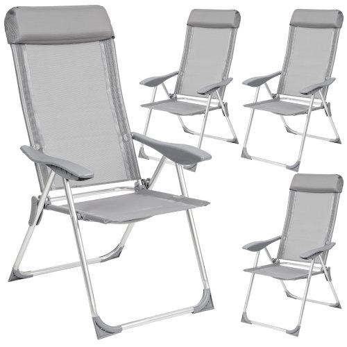 4 aluminium garden chairs with headrest