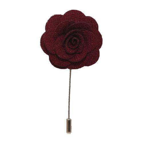 Burgundy Handmade Flower/Rose Lapel Pin for wearing with men's suit jacket, blazer, dinner jacket or tuxedo jacket