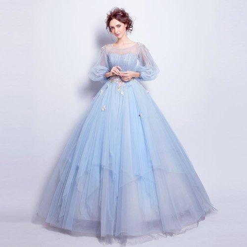 Angel Wedding Dress Marriage Evening Bride Party Prom Bridal Gown Vestido De Noiva 2017Blue, Long sleeve6001