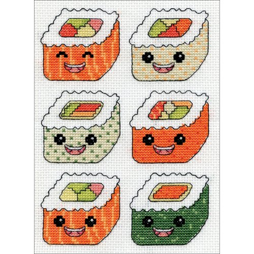 """Design Works Counted Cross Stitch Kit 5""""X7""""-Sushi (14 Count)"""