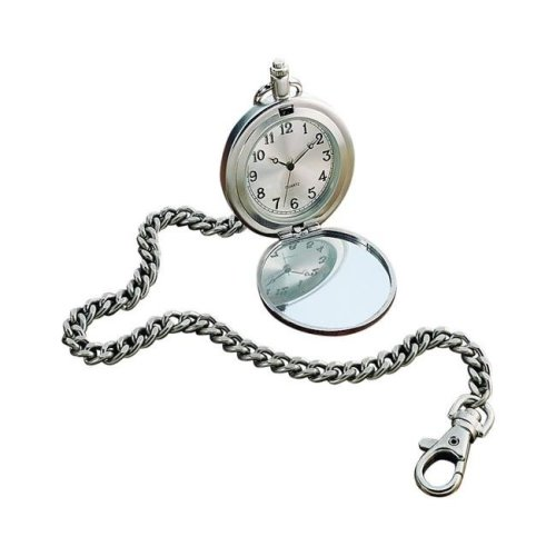 Creative Gifts International 003316 12 in. Pewter Plated Pocket Watch on Chain - 2 in.dia.