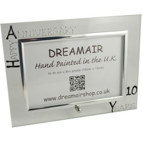 Personalised 10th Wedding Anniversary Photo Frame Tin Anniversary (landscape)