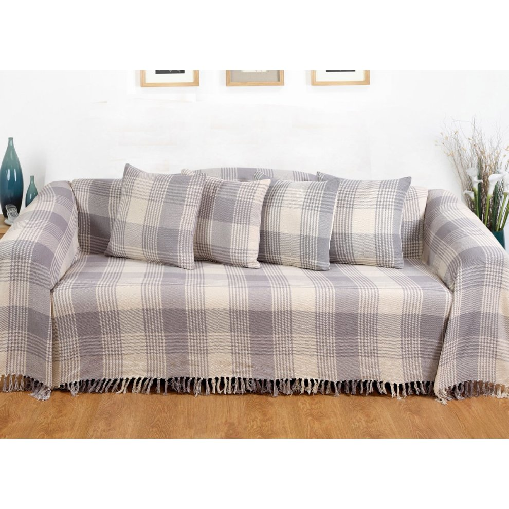 EHC Premium Reversible 100% Cotton Large 225 x 250 cm Tartan Throws for  Sofa, Bedspread, Grey, King