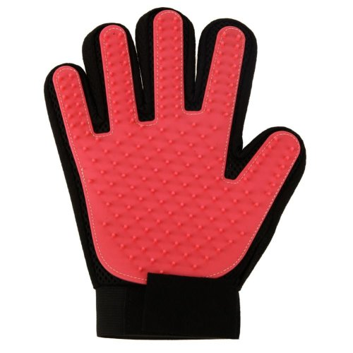 Vinsani [Red] Pet Grooming Glove Brush Massager, Pet Hair Remover Mitt Deshedding Glove - Perfect for Dogs & Cats with Long & Short Fur