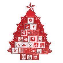 The Christmas Workshop Xmas Wooden Tree Shaped Advent Calendar with Drawers, Red/White