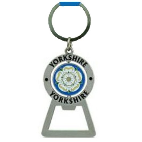 Yorkshire Spinning White Rose Metal Keyring & Bottle Opener Souvenir Gift County Key Ring
