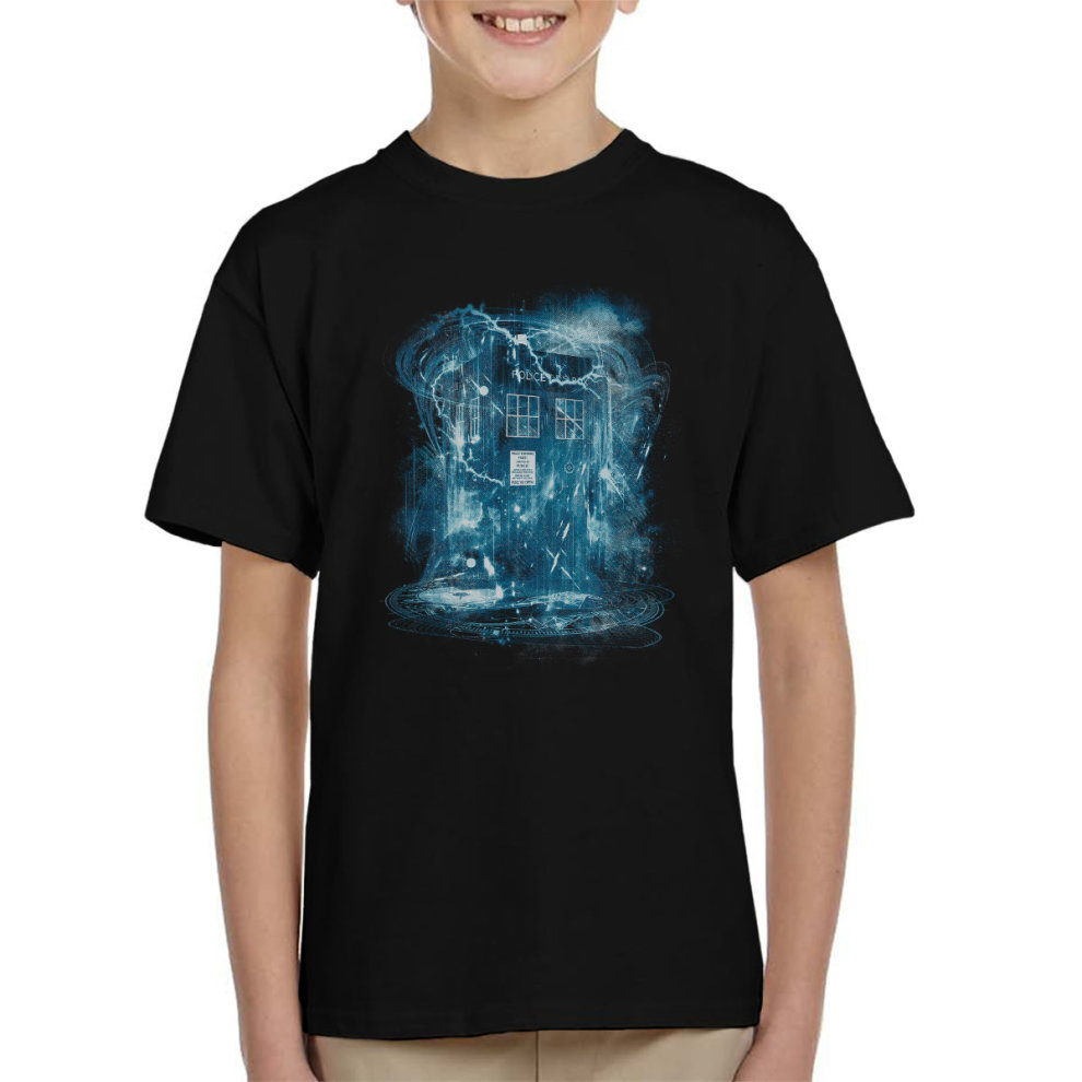(Small, Black) Space And Time Storm Doctor Who Kid's T-Shirt