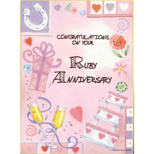 Congratulations on your Ruby Anniversary Greeting Card