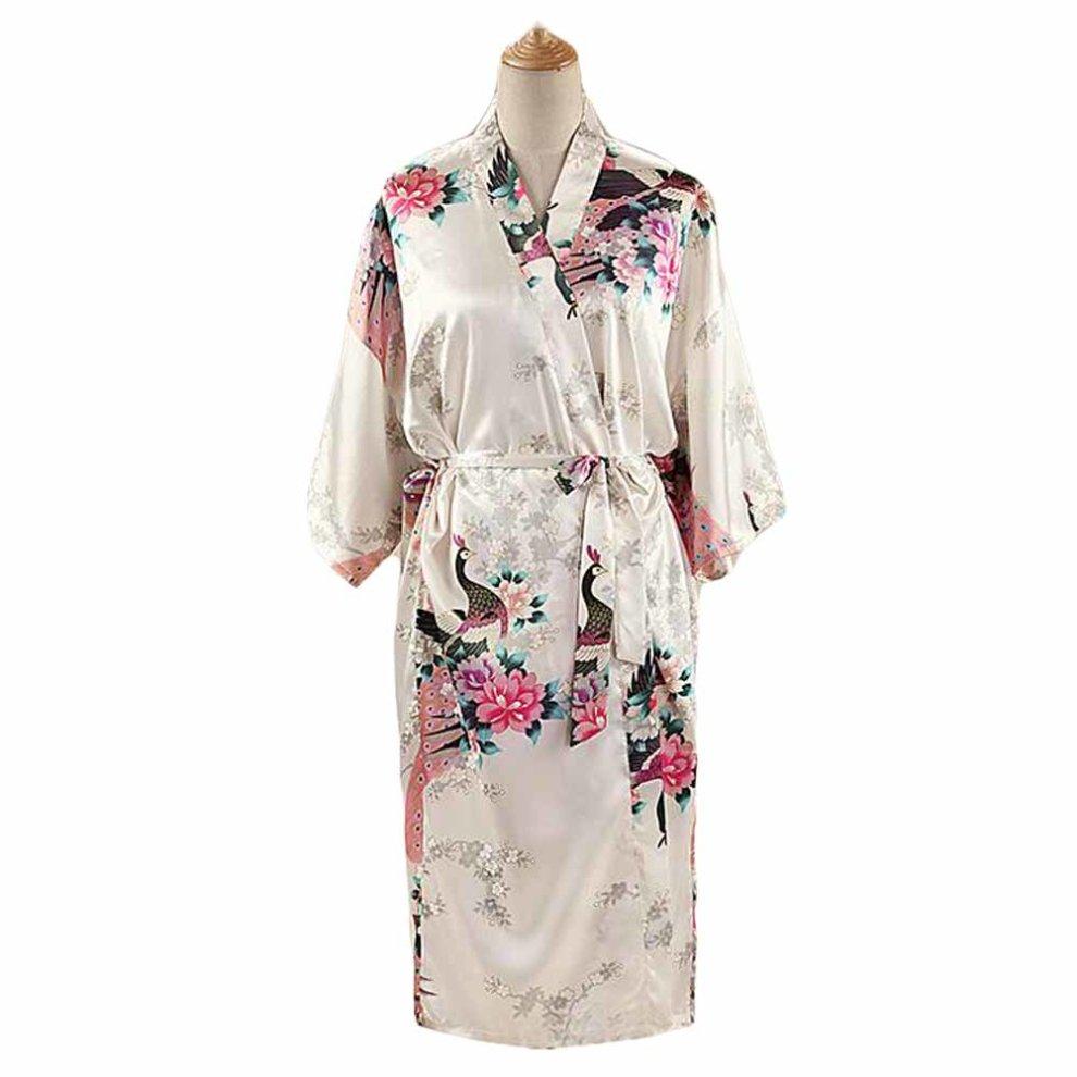 40c10c1a38 White - Peacock Blossoms Women s Long Bathrobe Kimono Robe Silk-like  Pajamas ...
