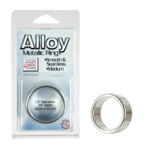 Alloy Metallic Silver Enhancer Cock Ring Medium