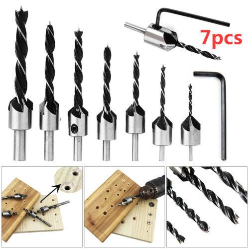 7 Pcs Wood 5 Flute HSS Countersink Drill Bit Kit 3 4 5 6 7 8 10mm Carpentry Tool