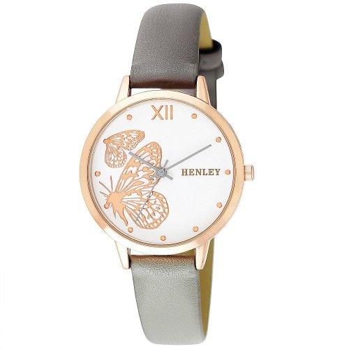 Women's Ladies Wristwatch Henley Butterfly Rose Gold Grey Leather Strap