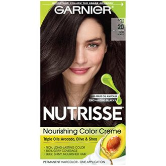 Garnier Nutrisse Nourishing Hair Color Creme, 20 Soft Black (Black Tea)  (Packaging May Vary)