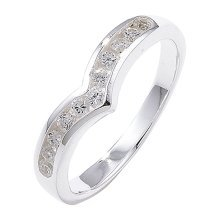 Sterling Silver Channel Set Wishbone Cubic Zirconia Ring - Size J