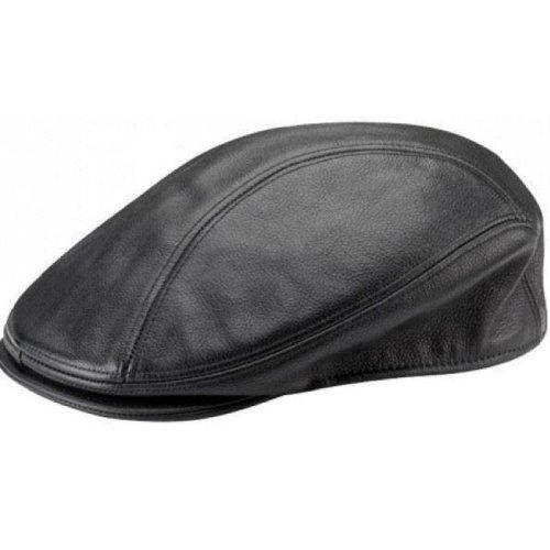 New IVY Adult Motorcycle Biker Rider Motorbike Black Leather Cap Hat