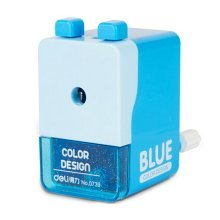 Creative Manual Pencil Sharpener Double Button Students Pencil Sharpener, BLUE
