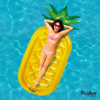 Official 'Perfect Pools' Inflatable Giant Pineapple Lilo | Swimming Pool Float 180cm