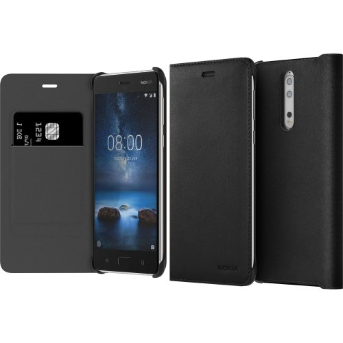 Nokia Leather Flip cover CP-801 for Nokia 8, Black - suitable for Nokia 8
