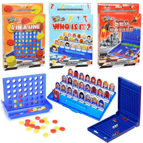 Set of 3 Classic Family Travel Games -  Who is It Game, Sea Battle Game & 4 in a Line Game