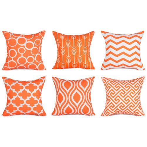 Top Finel Canvas Decorative Throws Pillows Cushions Covers Creative  Pillowcase for Sofa Bedroom Set of 6, 18x18 Inch, Orange